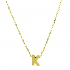 Sterling Silver Gold Plated Small Initial K Necklace - JCP00001GP-K