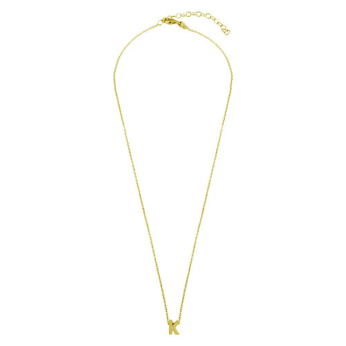 Wholesale Sterling Silver 925 Gold Plated Small Initial K Necklace - JCP00001GP-K