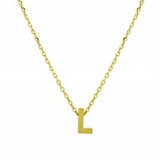 Sterling Silver Gold Plated Small Initial L Necklace - JCP00001GP-L