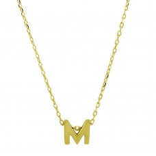 Sterling Silver Gold Plated Small Initial M Necklace - JCP00001GP-M