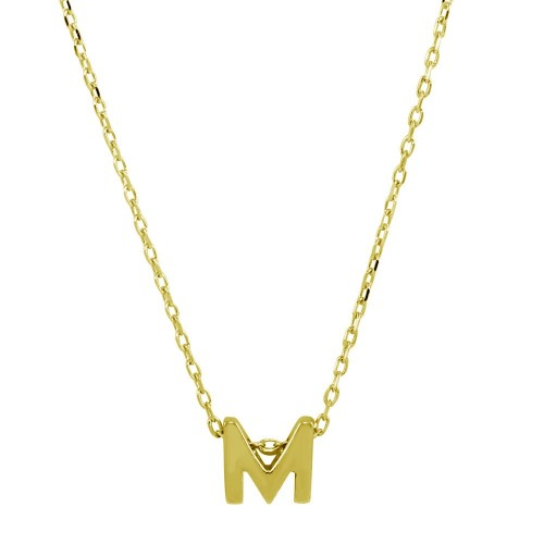 Wholesale Sterling Silver 925 Gold Plated Small Initial M Necklace - JCP00001GP-M