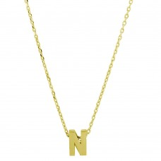 Wholesale Sterling Silver 925 Gold Plated Small Initial N Necklace - JCP00001GP-N