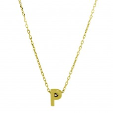Sterling Silver Gold Plated Small Initial P Necklace - JCP00001GP-P