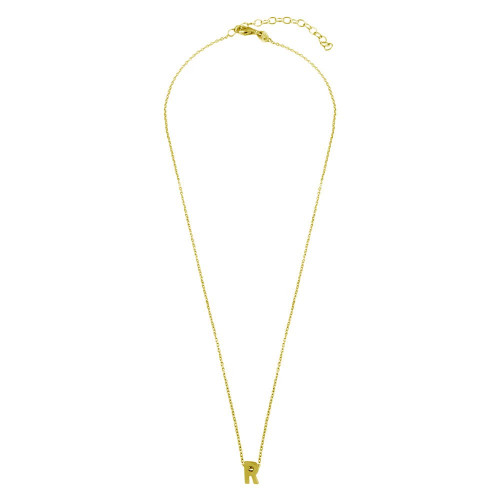 Wholesale Sterling Silver 925 Gold Plated Small Initial R Necklace - JCP00001GP-R