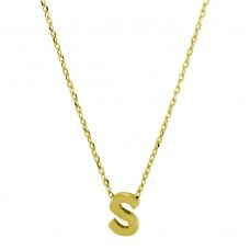 Sterling Silver Gold Plated Small Initial S Necklace - JCP00001GP-S