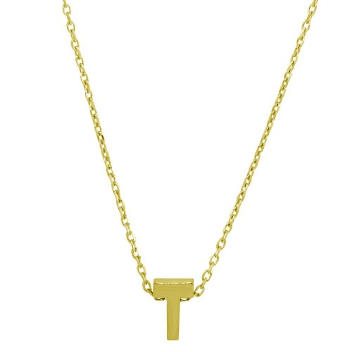 Wholesale Sterling Silver 925 Gold Plated Small Initial T Necklace - JCP00001GP-T