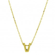 Wholesale Sterling Silver 925 Gold Plated Small Initial V Necklace - JCP00001GP-V