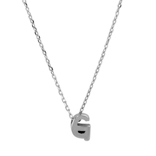 Wholesale Sterling Silver 925 Rhodium Plated Initial G Necklace - JCP00001-G