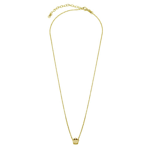 Wholesale Sterling Silver 925 Gold Plated Mini Crown Pendant Necklace - JCP00003GP