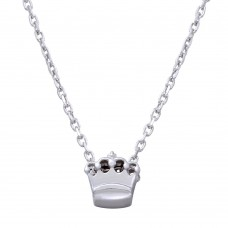 Wholesale Sterling Silver 925 Rhodium Plated Mini Crown Pedant Necklace - JCP00003RH