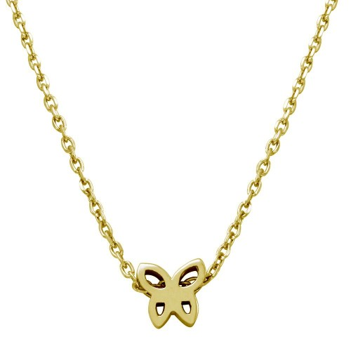 Wholesale Sterling Silver 925 Gold Plated Mini Butterfly Pendant Necklace - JCP00004GP