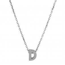 Sterling Silver Rhodium Plated Small Initial D Necklace - JCP00001-D
