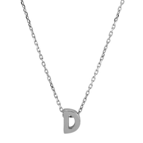 Wholesale Sterling Silver 925 Rhodium Plated Small Initial D Necklace - JCP00001-D