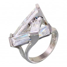 **Closeout** Wholesale Sterling Silver 925 Rhodium Plated 3 Clear Baguette CZ Ring - JSR00002CLR