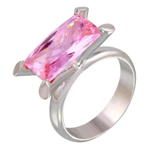 -Closeout Items- Wholesale Sterling Silver 925 Rhodium Plated Pink Baguette CZ Ring - JSR00006PNK