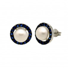 Wholesale Sterling Silver 925 Rhodium Plated Halo Synthetic Mother of Pearl Stud Earring with Blue CZ - BGE00652BLU