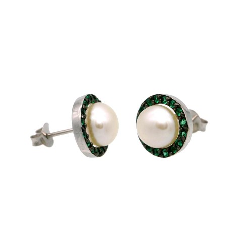 Wholesale Sterling Silver 925 Rhodium Plated Halo Synthetic Mother of Pearl Stud Earring with Green CZ - BGE00652GRN