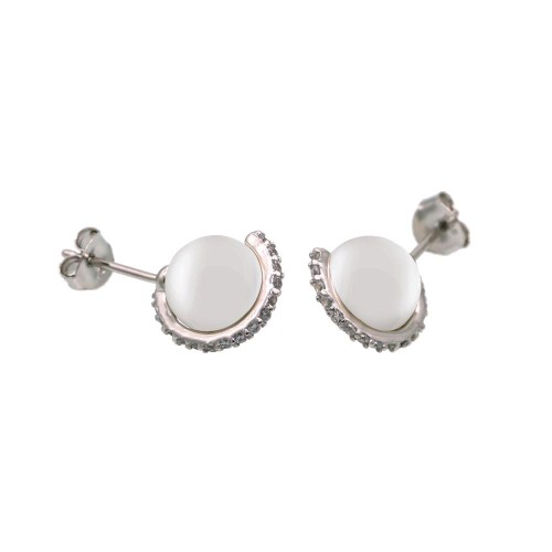 Wholesale Sterling Silver 925 Rhodium Plated CZ Wrapped Synthetic Mother of Pearl Stud Earring- BGE00653