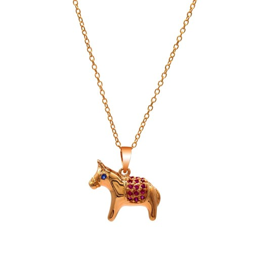 Wholesale Sterling Silver 925 Rose Gold Plated Donkey Pendant Necklace with Pink and Blue CZ Stones - BGP01379
