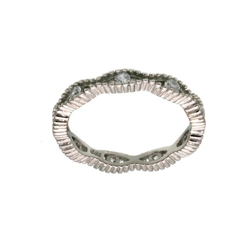 Wholesale Sterling Silver 925 Rhodium Plated Intersecting Waves CZ Ring- BGR01294CLR