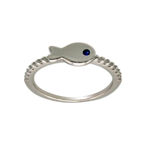 Wholesale Sterling Silver 925 Rhodium Plated Fish Ring with CZ Shank - BGR01296