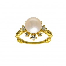 Wholesale Sterling Silver 925 Gold Plated White Pearl Flower Ring with CZ - BGR01300