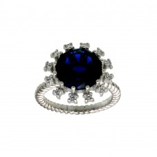 Wholesale Sterling Silver 925 Rhodium Plated Blue Center Flower CZ Ring with Rope Band - BGR01302BLU