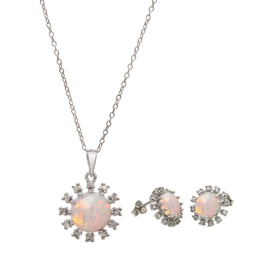 Wholesale Sterling Silver 925 Rhodium Plated Flower Synthetic Opal Halo Set with CZ - BGS00602