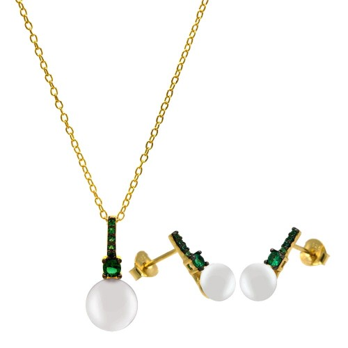 Wholesale Sterling Silver 925 Gold Plated Synthetic Mother of Pearl Earrings and Necklace Set with Green CZ - BGS00603