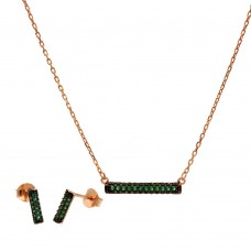 Wholesale Sterling Silver 925 Rose Gold Plated Bar Necklace and Earring Set with Green CZ Stones- BGS00604