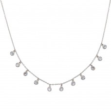 Wholesale Sterling Silver 925 Rhodium Plated Dangling CZ Charm Necklace - STP01671