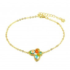 Sterling Silver 925 Gold Plated Butterfly Murano Glass Bracelet - MB00001