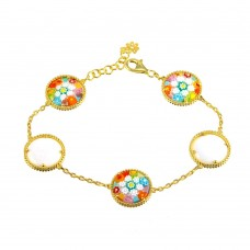 Sterling Silver 925 Gold Plated Round Murano Glass Beaded Design Bracelet - MB00002