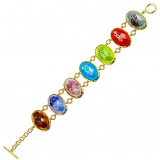 Sterling Silver 925 Gold Plated Oval Multi Color Murano Glass Link Bracelet - MB00003