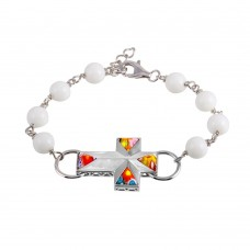 Sterling Silver 925 Rhodium Plated White Beads Color Murano Glass Cross Bracelet - MB00004WHT.