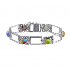 Sterling Silver 925 Rhodium Plated Round Murano Glass Link Bracelet - MB00005.