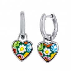 Sterling Silver 925 Rhodium Plated Murano Glass Heart Shaped Huggie Earring - ME00001