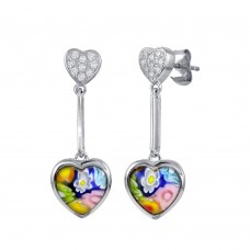 Sterling Silver 925 Rhodium Plated CZ Heart Dangling Murano Glass Heart Earring - ME00002