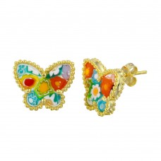 Sterling Silver 925 Gold Plated Murano Glass Butterfly Shaped Earring - ME00003