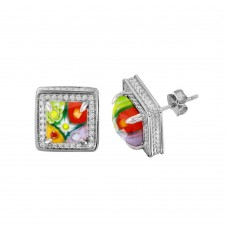 Sterling Silver 925 Rhodium Plated Murano Glass Square CZ Earring - ME00004