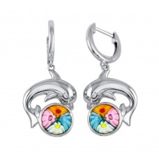 Sterling Silver 925 Rhodium Plated Murano Glass Dolphin CZ Earring - ME00005