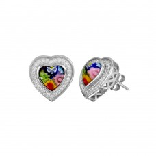 Sterling Silver 925 Rhodium Plated Murano Glass Heart Shaped CZ Earring - ME00006