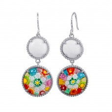 Sterling Silver 925 Rhodium Plated Dangling Circular Murano Glass Fish Hook Earring - ME00007