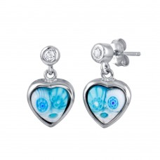 Sterling Silver 925 Rhodium Plated Light Blue Murano Glass CZ Heart Earring - ME00008-LBLU