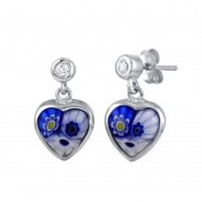Sterling Silver 925 Rhodium Plated Blue Murano Glass CZ Heart Earring - ME00008-BLU
