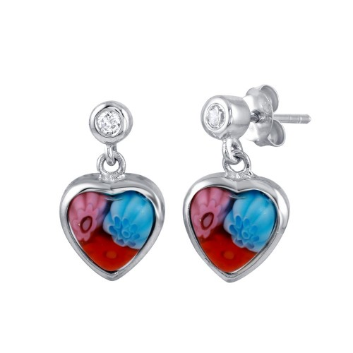 Sterling Silver 925 Rhodium Plated Red Purple and Blue Murano Glass CZ Heart Earring - ME00008