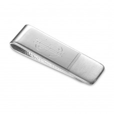 Sterling Silver Matte And High Polished Money Clip With Dollar Sign - MONEYCLIP5