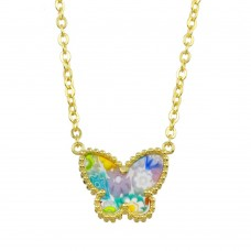 Sterling Silver 925 Gold Plated Butterfly Murano Glass Necklace - MN00001