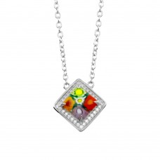 Sterling Silver 925 Rhodium Plated Square Halo Murano Glass CZ Necklace - MN00002
