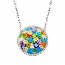 Sterling Silver 925 Rhodium Plated Halo Disc Murano Glass CZ Necklace - MN00003